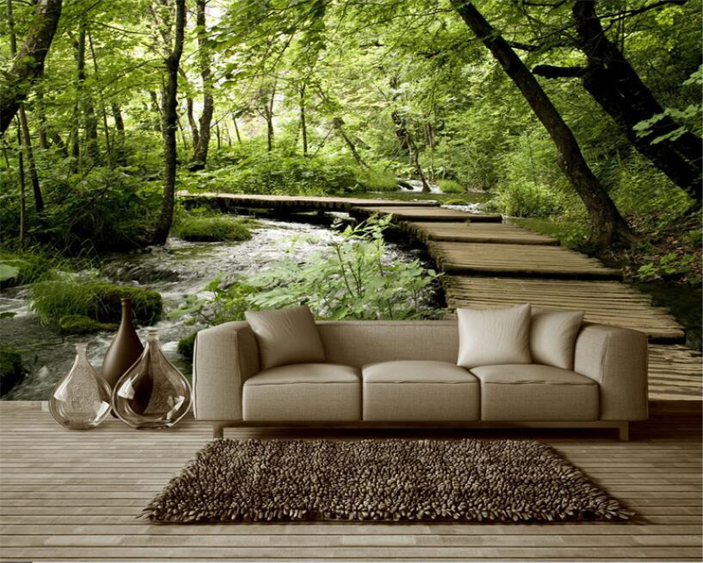 beibehang Nature 3d wallpaper mural bridge water bridge wood 3d space background wall wallpaper for walls 3 d papel de parede 3d papel parede forests trees bridge reflection scenery 3d wall paper mural 3d photo wallpaper 3d wall mural for sofa background
