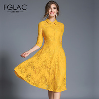 FGLAC Women Dress Fashion Casual 1 2 Sleeved Hollow Out Lace Dress Elegant Slim Vintage Party