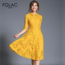Fglac Для женщин платье модные Повседневное 1/2 рукавами открытое кружевное платье элегантный тонкий Винтаж платье Марка Вечернее Vestidos