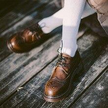 f85aa2c54 Chá Couro Genuíno Do Vintage Sapatos Oxford para As Mulheres Estilo  Britânico Rendas até Dedo Do Pé Redondo Mulheres Oxfords Bro.