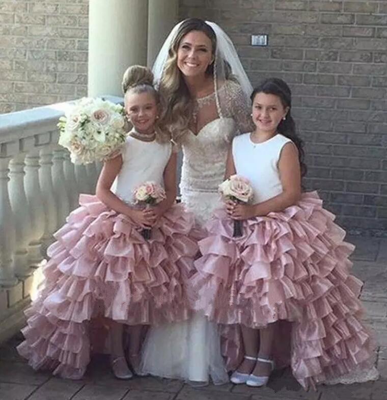 купить Pink Flower Girl Dresses High Low Scoop Sleeveless Floor Length Tulle Kids Wedding Party Dresses Pageant Gown недорого