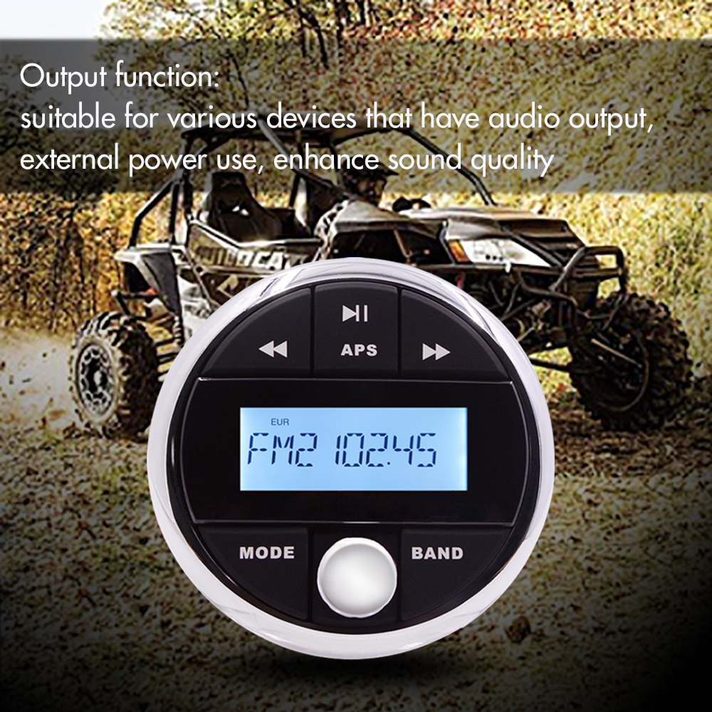 Marine Boat Bluetooth Radio Stereo Sound System Waterproof Digital Media Motorcycle Audio AM FM MP3 Player