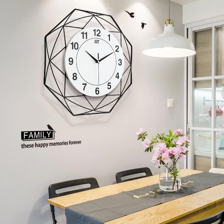 Nordic Minimalist Creative Wall Clock Living Room Wooden Mute