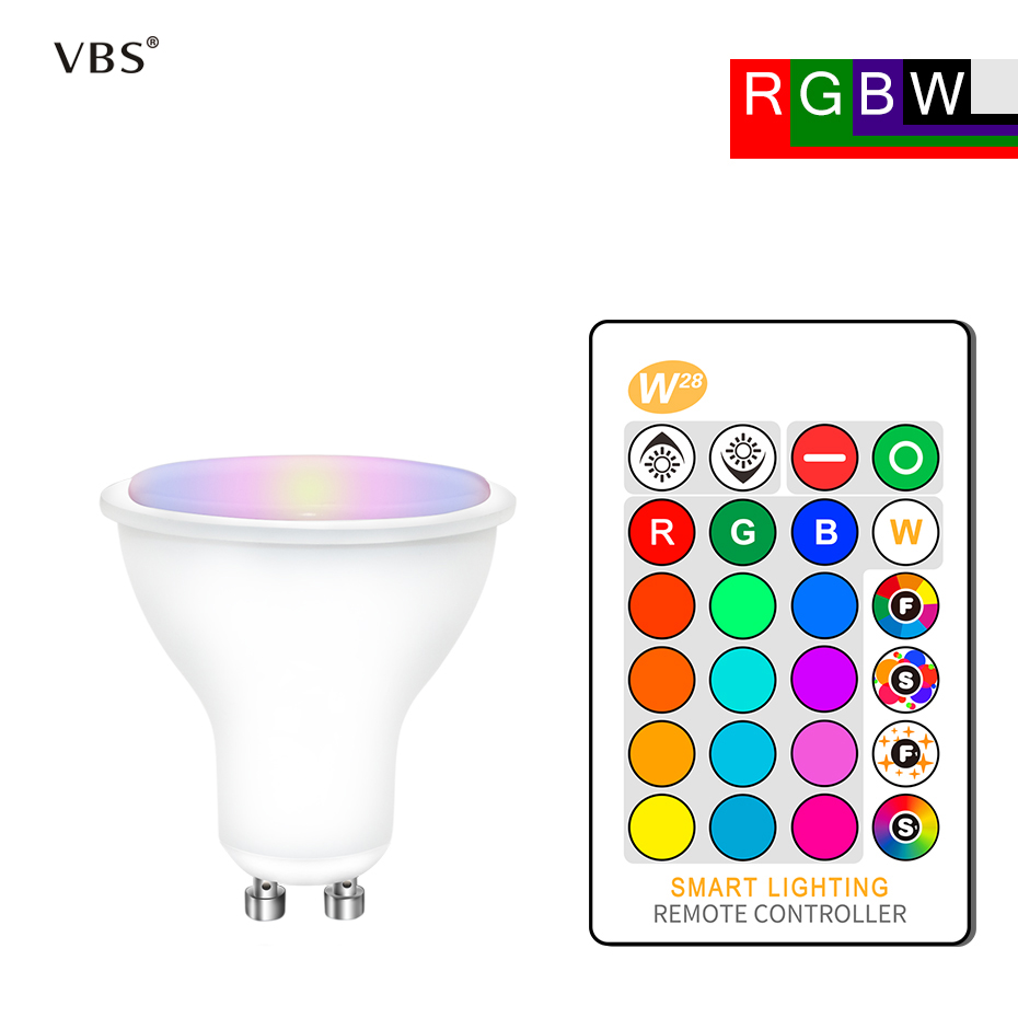 LED Bulb GU10 Dimmable Light Bulb Lamp 8W RGBW RGBWW AC85-265V RGB Led Light Spotlight with memory + IR Remote Control