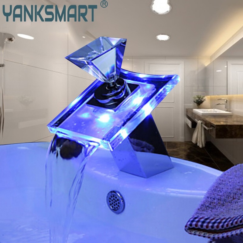 Bathrrom LED Faucet Luxury Deck Mount Waterfall Basin Faucet LED Color Glass Spout Mixer Tap Chrome Finish Single Hole/Handle