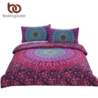 BeddingOutlet Mandala Bedding Set Queen Bohemian Printed Soft Bedclothes Twill Elephant Duvet Cover With Pillowcase 3pcs