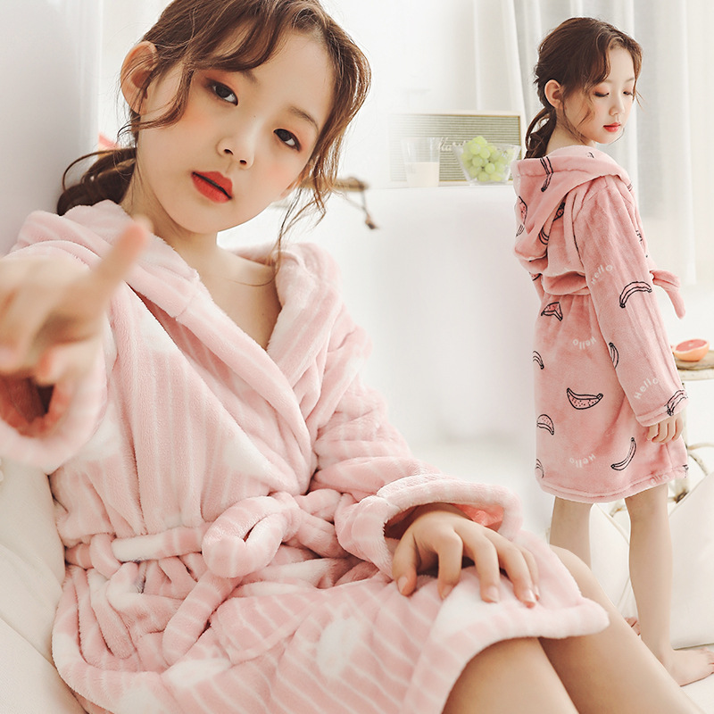 Kids Boys Girls Bathrobes Plain Navy Dressing Gown Night Lounge Wears 2-13 Years