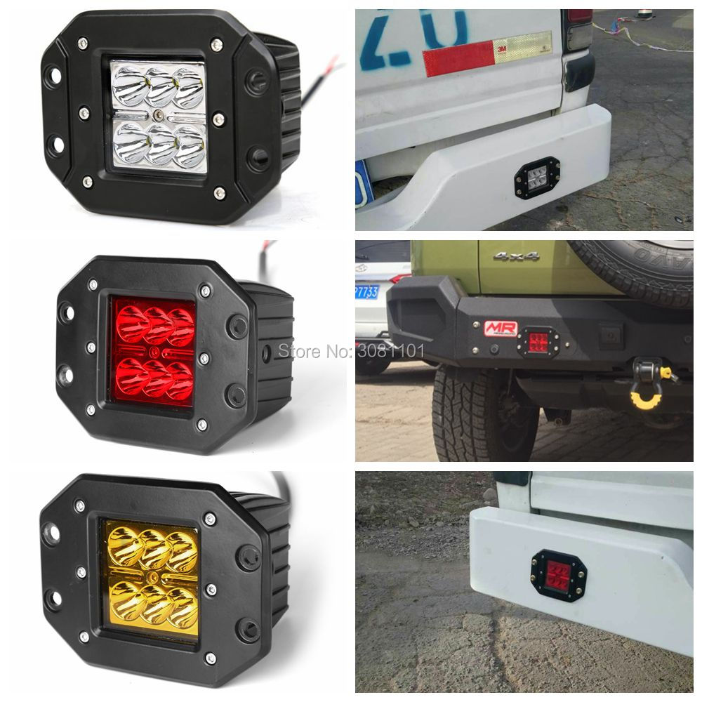 18W Red LED Work Light Car-styling Offroad Driving Light Projector Waterproof Spot Lamp Auto for SUV 4WD ATV Truck Car