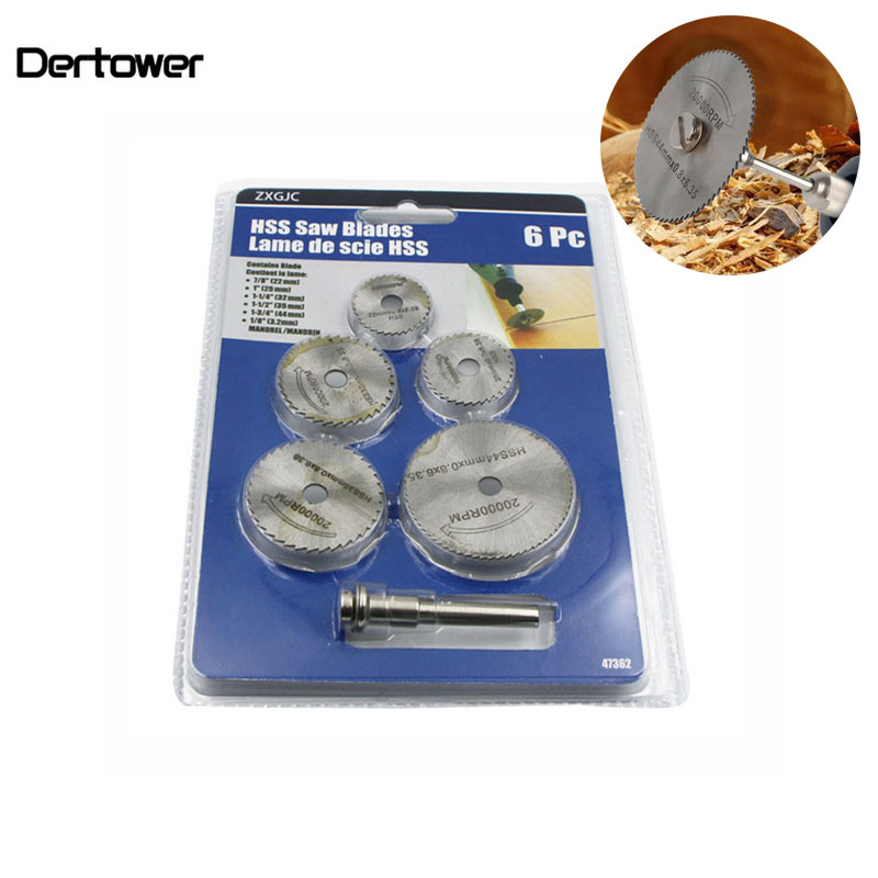 6pcs/Set HSS Mini Circular Saw Blade Woodworking Cutting Discs Drill For Rotary Tools Dremel Metal Cutter Power Tool Mandrel Set
