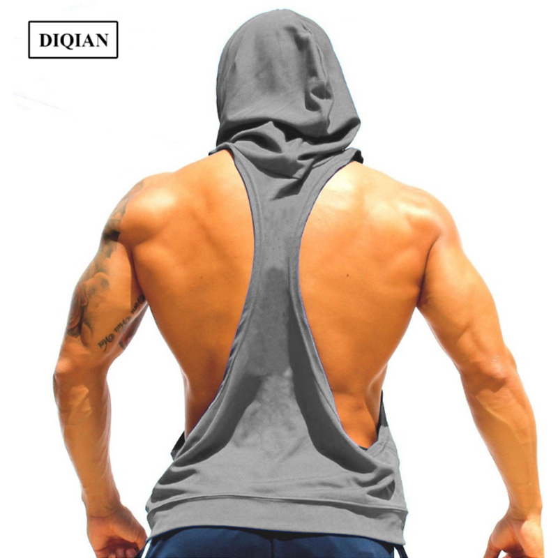 DIQIAN Fitness Hooded Sport Vests Men Solid Color Sleeveless Male Running Vests 7 Colors Loose Breathable Vests Plus Size 2XL