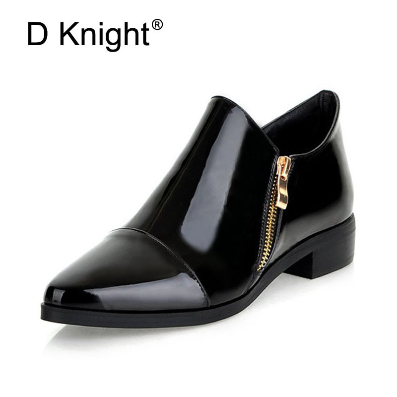 Fashion Pointed Toe Women Boots Zip Solid Women Shoes Patent Leather Shoes Woman Flat Oxford Shoes New England Style Oxfords hee grand sweet patent leather women oxfords shoes for spring pointed toe platform low heels pumps brogue shoes woman xwd6447