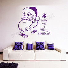 Vinyl Art Room Decoration I Wish You A Merry Christmas Wall Sticker Santa Claus Text Dress Up Ornament Mural Poster LY555