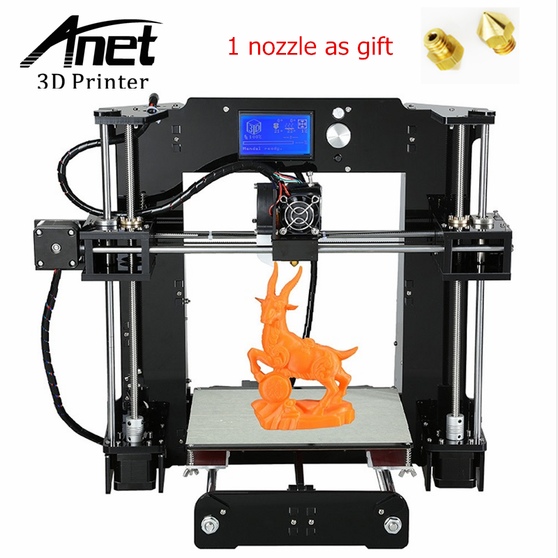 ANET A6 3D Printer Upgraded High precision 3D Printer Prusa i3 3D printer Easy Assembly DIY Filament KIT 16GB SD Card LCD screen 2017 new anet easy assemble 3d printer upgrated reprap prusa i3 3d printer large print size kit diy with filament 16gb sd card