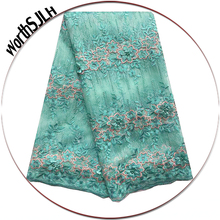 5 Yards Latest Net Mesh Lace Fabric Green Dress African Tulle Material Blue Nigerian 3D 2019 High Quality