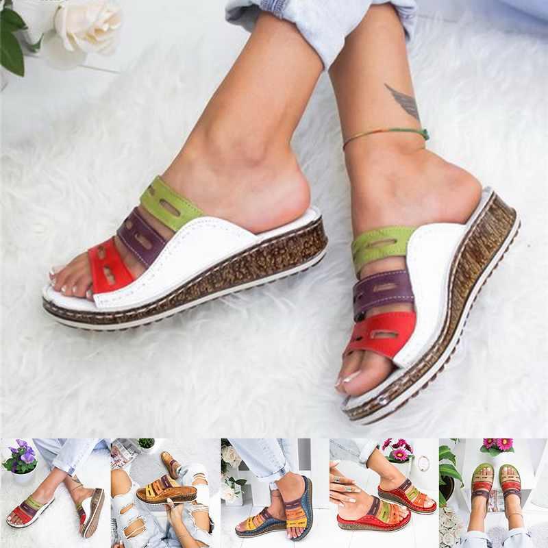 Vertvie 2019 Mùa Hè Mới Giày Sandal Nữ Khâu Giày Sandal Nữ Hở Mũi Giày Đế Nêm Trượt Bãi Biển Người Phụ Nữ Giày