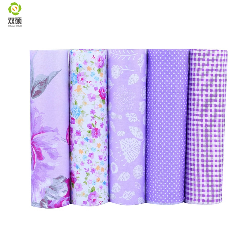 New Purple Floral Patchwork Cotton Fabric Fat Quarter Bundles Needlework Textile Sewing Fabric For Bags Clothes 40*50cm A2-5-2