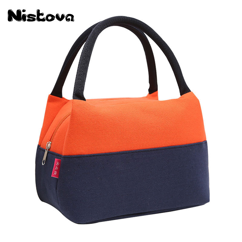 Fashion Portable Insulated Canvas lunch Bag Thermal Food Picnic Lunch Bags for Women kids Men Cooler Lunch Box Bag Tote aequeen thermal lunch bag for kid cute flamingo picnic boxes canvas cartoon animal printing food cooler bags insulated tote