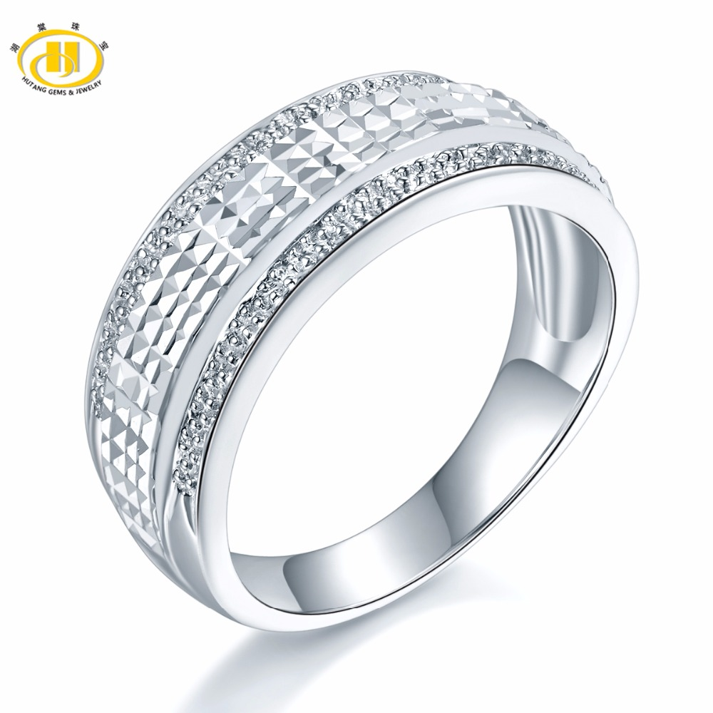 Hutang Solid 925 Sterling Silver Classic Wedding Engegament Bridal Ring Womens Mans Fine Elegant Jewelry Best Great Gift NewHutang Solid 925 Sterling Silver Classic Wedding Engegament Bridal Ring Womens Mans Fine Elegant Jewelry Best Great Gift New