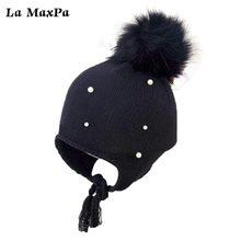 2018 arrival cute kid babies Beanies caps Child Crochet Winter Warm Knit Hats Cap Baby Boy Girls beading Hair Ball Earbud Hat