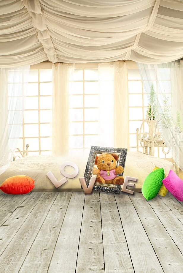 2017 Wholesale wood floor photographic background,vinyl curtains studio backdrops for photography baby children photography backdrops colorful flower and floor for children background photographic studio background