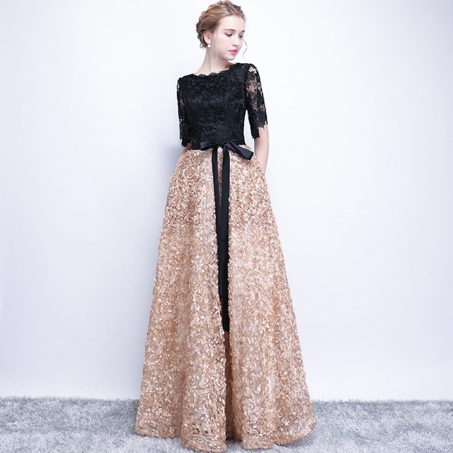 It s YiiYa Contrast Color Half Sleeves Bow Floral Print Elegant Lace Zipper  Party Frocks Dress Floor Length Evening Dress YS010 82a24c0e4cd1