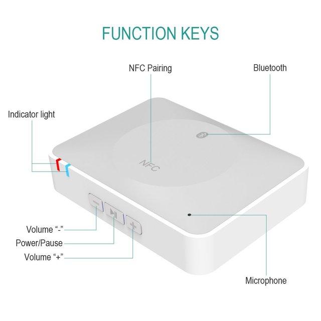 Adaptador de Altavoz de Escritorio de Audio Estéreo Receptor de Música NFC Inalámbrica Bluetooth Adaptador Para Móvil/TabletLaptopComputer con USB