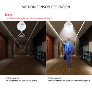 Image 4 - PIR חיישן התנועה נורות E27 220 V מנורת LED חיישן קול 3 W 5 W 7 W 9 W 12 W למדרגות מרפסת מסדרון חירום לילה הנורה