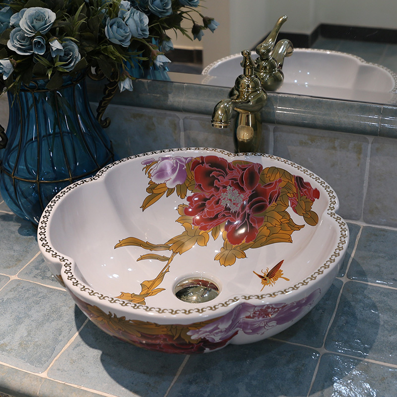 Europe vintage style ceramic art basin sink counter top for Dining room sink designs