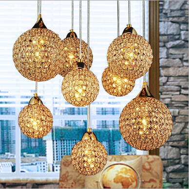luxurious large size golden K9 square crystal round Dia12&15&18cm led E14*8 heads pendant light living room dining room lamp1615 modern fashion luxurious rectangle k9 crystal led e14 e12 6 heads pendant light for living room dining room bar deco 2239