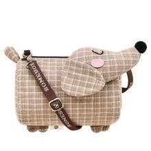 Собака Такса дизайн маленьких девочек сумки на плечо Для женщин Творческий Повседневное клатч решетки ткань портмоне милый телефон сумка