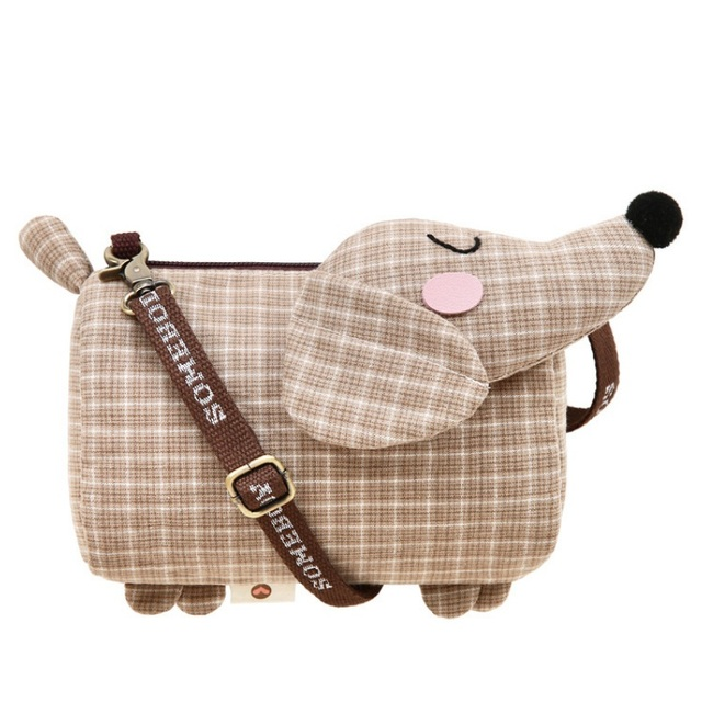 91d0e26e0bd Dachshund Dog Design Girls Small Shoulder Bags Women Creative Casual Clutch  Lattice Cloth Coin Purse Cute