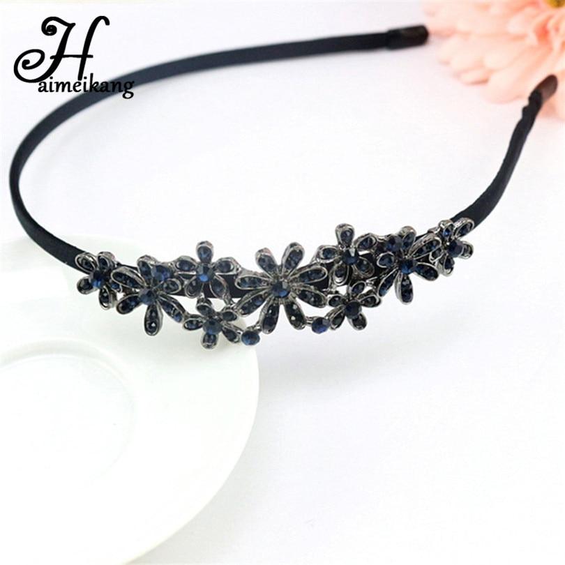 Haimeikang Women Headwear irregular Rhinestone Hair Clasp Gum for Hair Colorful Crystal Ha
