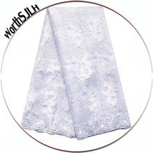 Embroidery African Lace Fabric 2019 High Quality Material French Tulle White Peach Nigerian