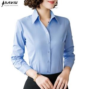 Image 1 - 2019 New Autumn Women Cotton Shirt Fashion Temperament Long Sleeve Slim Formal Blouse Office Ladies Work Tops White Blue