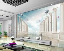 Купить с кэшбэком Beibehang 3D wallpaper, dream, three-dimensional sea, sailing ship, hot air balloon, seagull TV background wall papel de parede