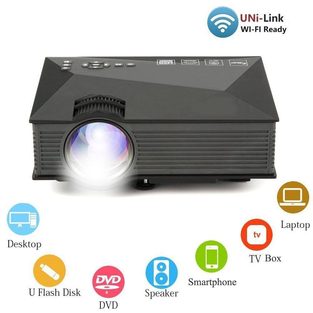 Image 2 - Salange Mini Video Projector UC46 800x480 1200 Lumens LED Projector Home Cinema WIFI Support Miracast/Airplay Full HD Proyector-in LCD Projectors from Consumer Electronics