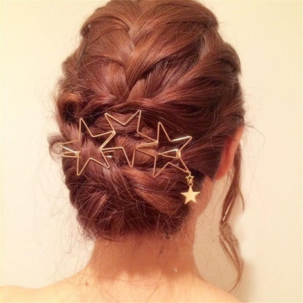 Woman Hair Accessories Five-pointed Star Hair Clip Pin Metal Copper  Hairgrip Barrette Girls Holder Hair Clip #2