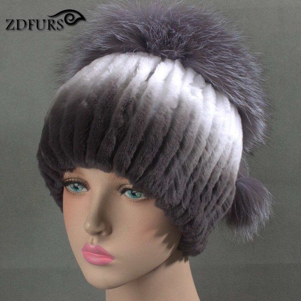 Glaforny 2017 New Women Rex Rabbit Fur Hats with Silver Fox Fur Top - Apparel Accessories - Photo 4