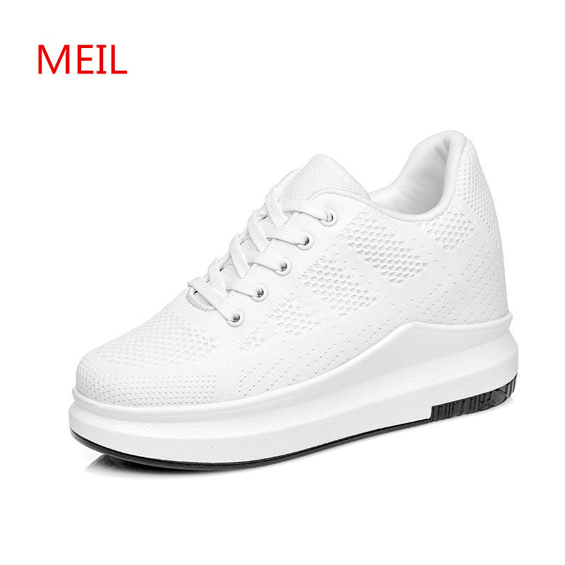 White Black Sneakers Women Wedges Platform Heels Summer Shoes Ladies Flat Shoes Flats Footwear Woman Comfort Shoes for Women hzxinlive 2018 flat shoes women breathable flats shoes for women ladies casual platform female fashion summer sneakers footwear