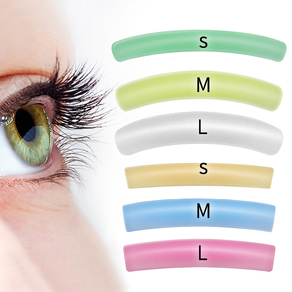 New Arrival Colorful Flat&Curl Lashes Patches Reusable Silicone Gel Eye Pads Eyelash Perm Lifting Cilia Tools 6 Colors