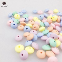 Let's Make Silicone Beads Abacus 100pc Soft Pastel Candy Color Food Grade Sensory Baby Teether Diy Crafts Chewable Baby Beads