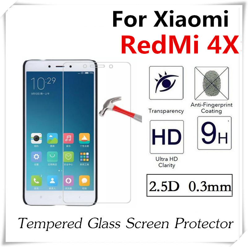 imágenes para 20 unids 2.5D Templado Protector de Pantalla de Cristal Para Xiaomi RedMi 4X 4A Anti-Shatter A Prueba de Explosiones Película Protectora