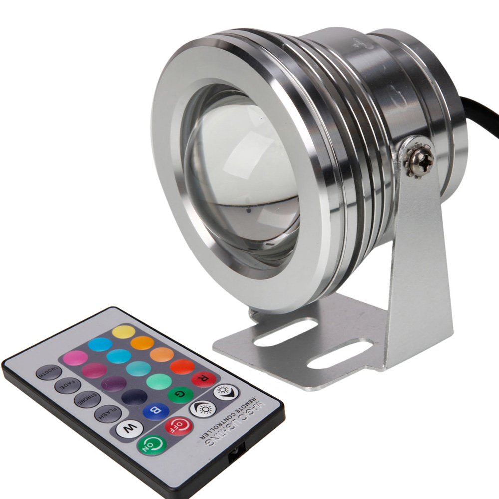 Led Underwater Lights Led Lamps Outdoor Cob Rgb 10w Led Spotlight 12v Red Green Blue White Color Fountain Pool Lamp Changable With 24key Ir Remote Controller