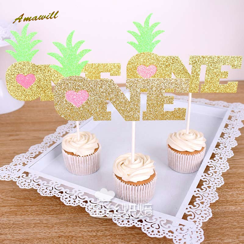Amawill 1st Birthday Gliter Pineapple Cupcake Toppers Hawaiian Summer Pool Party Favors Baby Shower Decor 8D In Cake Decorating Supplies From Home