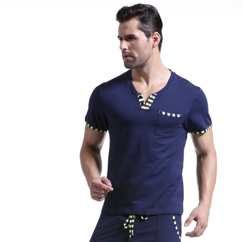WJ Men Cotton Pajamas Set Sleepwear Bottoms Long Pant Casual Wear Short-Sleeved Shirt Leisure Suit (for a Suits) Islamabad