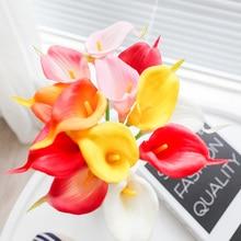 2019 New Artificial Flower Big Size Real Touch PU Calla Lily Wedding Decoration Home Party Decor Fleurs Flores Artificiais
