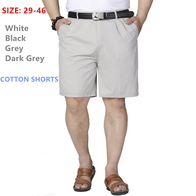 Mens Shorts Middle Aged Plus Size 40 42 44 46 Men Cotton Thin Straight Casual Father Short Grey Black White 2019 Summer Cltohes