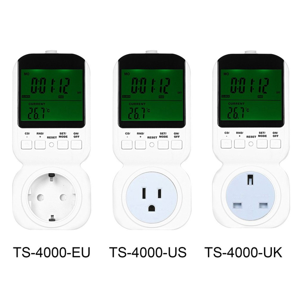Multi-functional Thermostat Timer Switch Socket with Big LCD Display with Sensor Probe Adjustable 12/24 Hour TS-4000