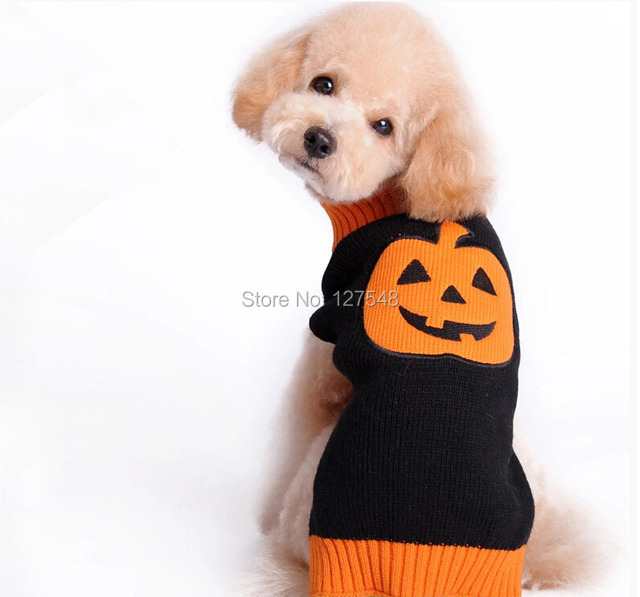 Naranja calabaza gigante Cara suéter del perro Halloween XXS XS S M ...