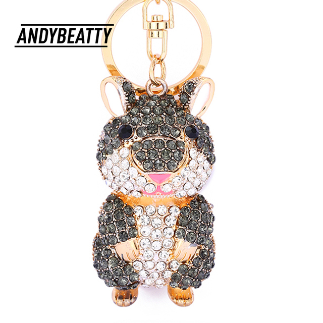 35781fd1d6bbb ANDY BEATTY Mini Hamster Keyrings Keychains Alloy rhinestone Trinkets Car  Handbag Pendant Key Chian Ring Holder